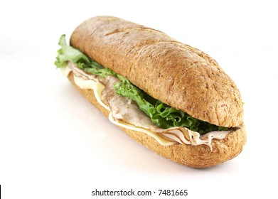 turkey and cheese sub sandwich close up
