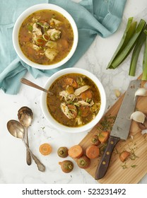 Turkey or Chicken Soup with Wild Rice and Vegetables