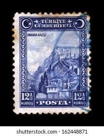 TURKEY - CIRCA 1929: A stamp printed in Turkey shows Fortress of Ankara, circa 1929.