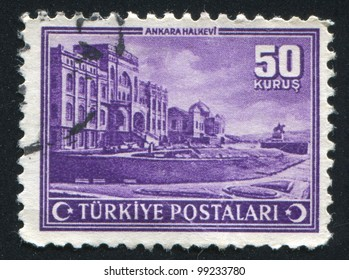 TURKEY - CIRCA 1943: stamp printed by Turkey, shows People�¢??s House,  Ankara, circa 1943