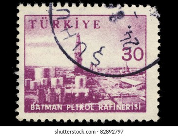 TURKEY - CIRCA 1956: A stamp printed in Turkey shows image of an oil plant, series, circa 1956