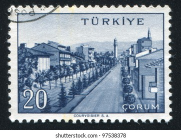TURKEY - CIRCA 1959: stamp printed by Turkey, shows Turkish city, Corum, circa 1959.