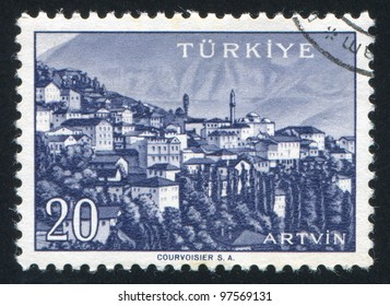 TURKEY - CIRCA 1959: stamp printed by Turkey, shows Turkish city, Artvin, circa 1959.