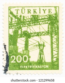 TURKEY - CIRCA 1960 A stamp printed in Turkey shows a power lines, electrification, circa 1960