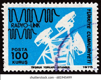 "TURKEY - CIRCA 1975: A stamp printed in Turkey from the ""Posts and Telecommunications"" issue shows Radio link, circa 1975."