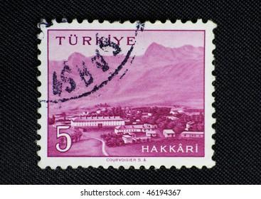 TURKEY - CIRCA 20th century: A stamp printed in Turkey shows Hakkari city, circa 20th century
