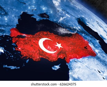 Turkey with embedded national flag at night from space. 3D illustration with detailed planet surface and visible city lights. Elements of this image furnished by NASA.
