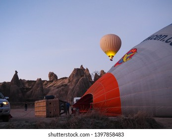 Turkey, Feb. 13, 2019 : Preparation of a hot air balloon to bring passengers to see the beauty of the Earth's Capadocia from the air