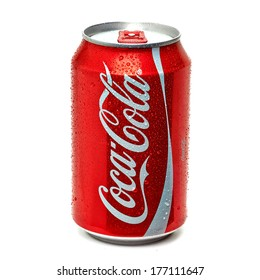 TURKEY - FEBRUARY 11, 2014: Classic Coca-Cola Can on White Background.