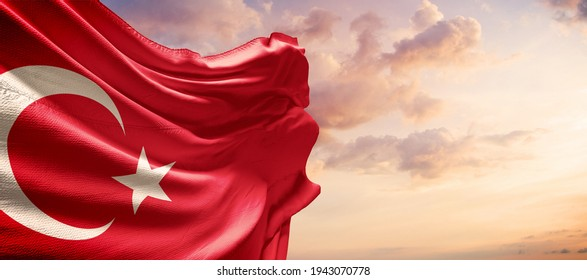 Turkey flag in the blue sky. Horizontal panoramic banner.