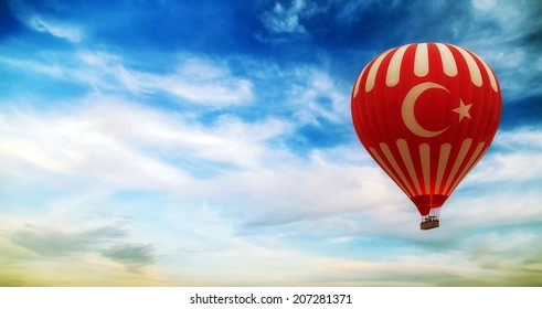 turkey flag hot air balloon flying blue sky with clouds