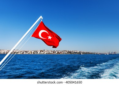 Turkey flag and Istanbul view - travel background