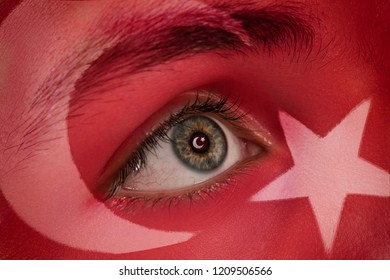 Turkey flag on man face.Concept of special day background
