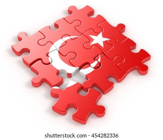 Turkey flag on a Puzzle. 3D illustration