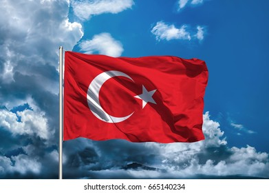 Turkey flag with sky background