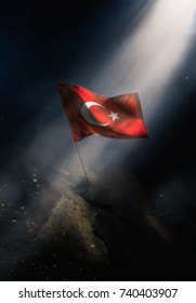 Turkey flag standing with triumph after a disaster.