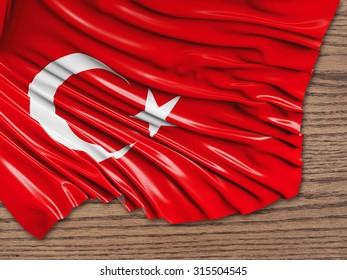 Turkey Flag with wood