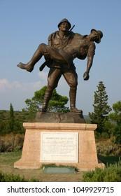 Turkey, Gallipoli Peninsula , Mehmetcik Memorial, bronze statue of soldier carrying dead comrade,Canakkale,Turkey,August 2004