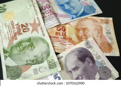 turkey government paper banknotes, stock exchange and Turkish lira,