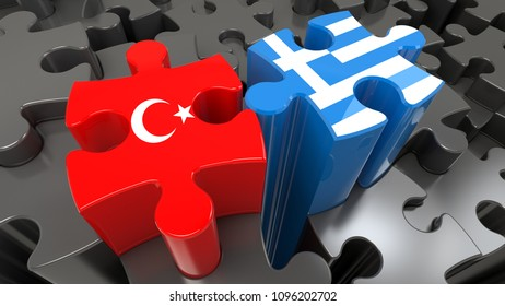 Turkey and Greece flags on puzzle pieces. Political relationship concept. 3D rendering