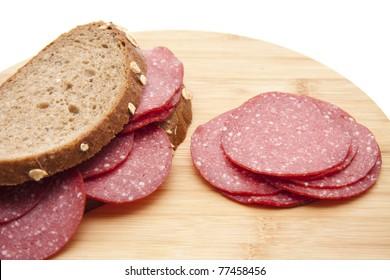 Turkey hen salami on bread