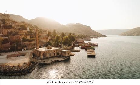 Turkey historical mosque Euphrates River old village Anatolian Mesopotamia top angle travel tourism trip.