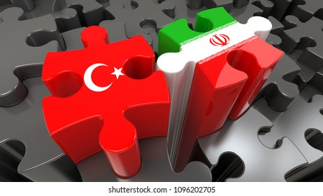 Turkey and Iran flags on puzzle pieces. Political relationship concept. 3D rendering