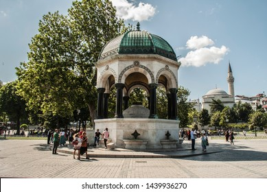 Turkey, Istanbul- 06.30.2019: The German Fountain in Sultanahmet is one of the historical buildings visited by tourists.