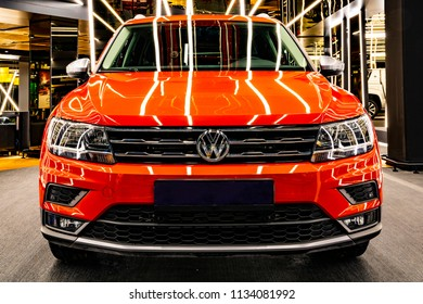 Turkey, Istanbul, 10 July 2018, 2018 Model New VOLKSWAGEN TIGUAN Red Color and 0 km On Showroom