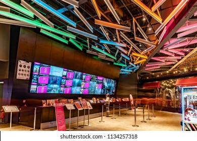 Turkey, Istanbul, 10 July 2018: Cinemaximum Cinema  Ticket Counter with modern desing