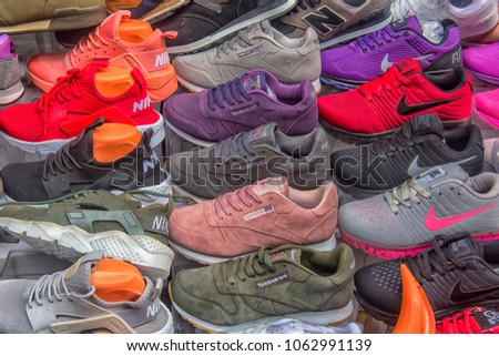 1ccaf00d3abd Turkey Istanbul 14032018 Sneakers Sale On Stock Photo (Edit Now ...