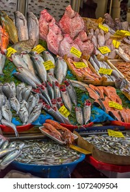 Turkey, Istanbul, 20,03,2018  Various fish on the counter fish shop in Istanbul.