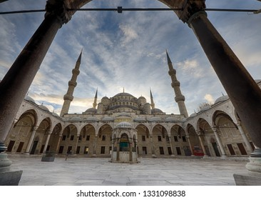 TURKEY ISTANBUL 2018 DEC the blue mosque inner yard at the morning