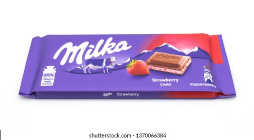 Turkey, Istanbul - April 2019  Milka strawberry milk chocolate bar.  Milka is a brand of chocolate confection which originated in Switzerland in 1901. Milka is the first milk chocolate bar in the worl