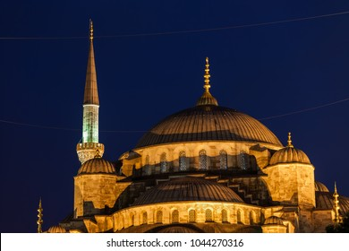 Turkey, Istanbul, Blue Mosque (Sultan Ahmet Camii) domes at night, city landmark from 1616.
