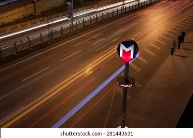 TURKEY ISTANBUL - DECEMBER 12 2011 : Metro sign and traffic at night