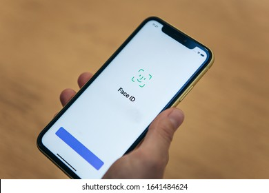 Turkey, Istanbul, December 20, 2019: A person uses the face id feature on the new iPhone 11 pro