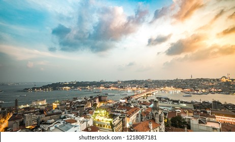Turkey Istanbul Golden Horn, Galata Bridge, Hagia Sophia, Topkapi Palace, Sultanahmet Mosque, Suleymaniye Mosque, Eminonu and Grand Bazaar Panoramic Sunset Photo