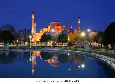 Turkey. Istanbul. The Hagia (Aya) Sophia at night