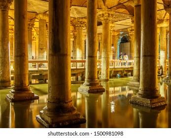 TURKEY, ISTANBUL - MARCH 15, 2015: Columns and water underground inside Basilica Cistern, Istanbul, Turkey