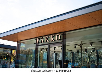 Turkey, Istanbul - March 2019 VAKKO Store in Meydan AVM. Store signage of a Turkish fashion company