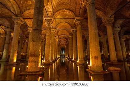 TURKEY, ISTANBUL - MAY 15, 2015: Basilica Cistern in Istanbul. Basilica Cistern- one of the largest and well remained ancient underground reservoirs of Constantinople