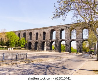 Turkey, Istanbul,  Picture is showing a Roman Aqueduct in Istanbul and main roads/streets passing through it.