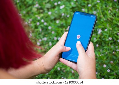 Turkey, Istanbul - September 15.2018: Hands on experience on Periscope. Reviewing Periscope application. Showing Periscope on mobilephone. Depiction of Periscope on ipone.