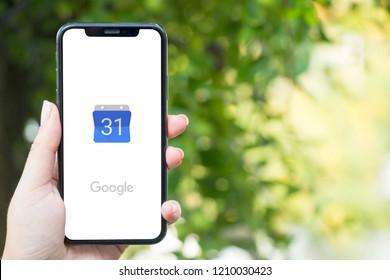 Turkey, Istanbul - September 15.2018: Hands on experience on Google Calendar . Reviewing Google Calendar application. Showing Google Calendar on mobilephone. Depiction of Google Calendar on ipone.