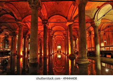 Turkey. Istanbul. Underground basilica cistern. Byzantine water reservoir build by Emperor Justinianus