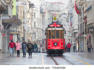 TURKEY, ISTANBUL - YANUAR 1, 2017:An old red tram on Istiklal Street