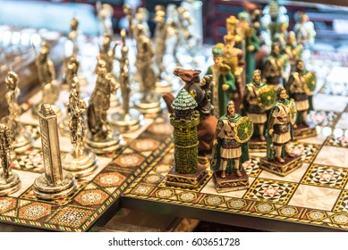 TURKEY -ISTANBUL:4 FEBRUARY 2017: Decorative hand made brass,metal chess with the colorful painted chessmen, decorated with islamic,christian patterns in grand bazaar istanbul,Turkey