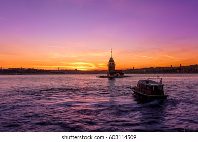 TURKEY -ISTANBUL:5 MARCH 2017 ,Maiden Tower,medieval building/lighthouse,(Tower of Leandros,Turkish: Kiz Kulesi) at entrance to Bosporus Strait with Hagia Sophia and Blue Mosque in the distance