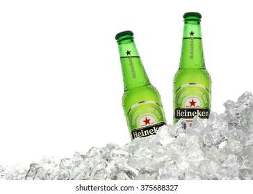 TURKEY - JAN 6, 2016 Bottles of Heineken Lager Beer on white background. Heineken is a brand of lager beer brewed in Holland.